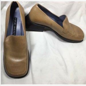 NINE WEST Leather Slip On Comfort Loafer 6.5M